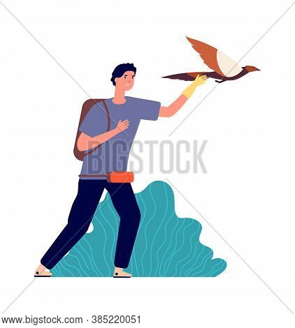 Guy And Falcon. Male Bird Owner, Wild Pet. Man Releases Eagle In Flight, Isolated Ornithologist Vect