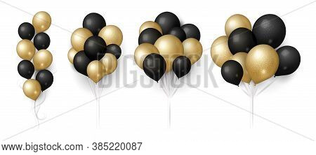 Gold Black Balloons. Glittered Balloon Bunch, Isolated Flying Festive Decoration. Realistic 3d Birth