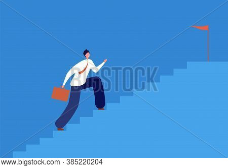 Career Goal. Man Running Stairs, Successful Path In Business. Run Up Staircase, Manager Going To Tar