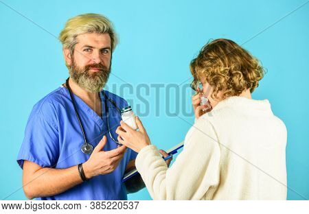 Doctor Communicate Woman. Medical Treatment. Offering Effective Cures. Virus Infection Symptoms. Pre