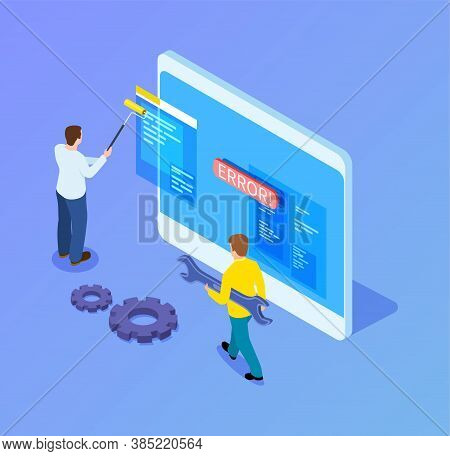 Isometric Web Developers. Programmers Working With Interface, Mobile App Upgrade. 3d Tablet And It W