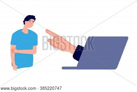 Cyberbullying. Sad Man And Hand From Laptop. Internet Harassment, Online Aggression Or Guilt Complex