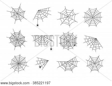 Spider Webs. Black Halloween Cobweb, Horror Web With Spiders. Abstract Spooky Tattoo, Isolated Corne