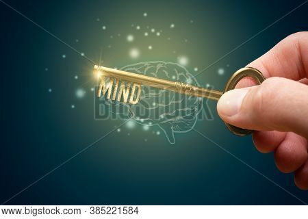 Key To Unlock Mind To Use Personal Potential To Increase Intellect. Creative Open Mind Concept. Ment