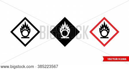 Oxidizing Hazard Icon Of 3 Types Color, Black And White, Outline. Isolated Vector Sign Symbol.