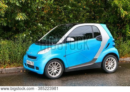 Moscow, Russia - August 13, 2020: Cyan Urban Car Smart Fortwo In The City Street.