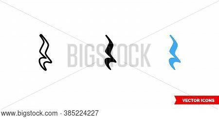 Quarter Rest Icon Of 3 Types Color, Black And White, Outline. Isolated Vector Sign Symbol.