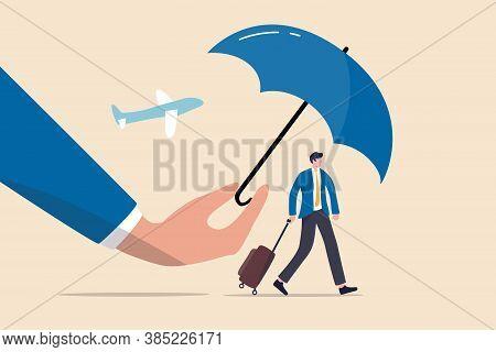 Travel Insurance, Protection For Traveller Before Flying In Covid-19 Coronavirus Era Concept, Magic
