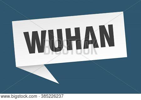 Wuhan Speech Bubble. Wuhan Ribbon Sign. Banner