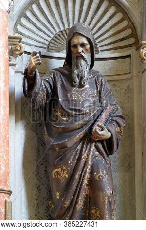 MALA GORICA, CROATIA - OCTOBER 10, 2013: St. Methodius statue on the main altar at St. George's Church in Mala Gorica, Croatia