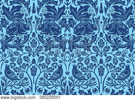Blue Hand Drawn Seamless Pattern Ornament With Rabbit, Bird And Plants. Middle Ages William Morris S