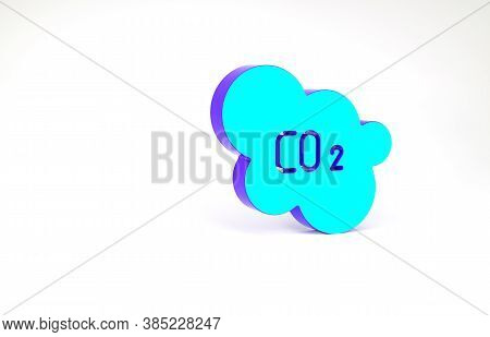 Turquoise Co2 Emissions In Cloud Icon Isolated On White Background. Carbon Dioxide Formula, Smog Pol