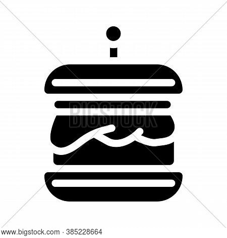 Hamburger With Vegan Cutlet Glyph Icon Vector Illustration