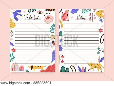 Set Of Childish Notebook, Organizer, Planner Memo Page Design Template. To Do List, Agenda Decorated