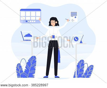 Businesswoman Does Several Things At Once Time. He Is Holding Bag, Drink Coffee, Read Documents And