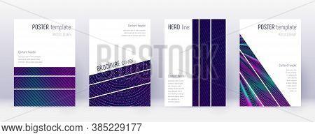 Geometric Brochure Design Template Set. Neon Abstract Lines On Dark Blue Background. Alluring Brochu
