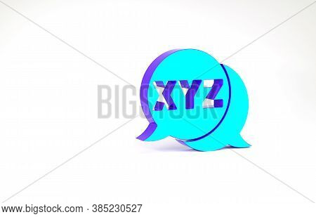 Turquoise Xyz Coordinate System Icon Isolated On White Background. Xyz Axis For Graph Statistics Dis