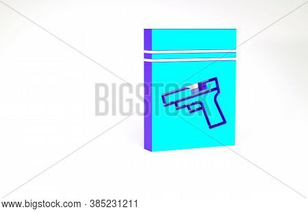 Turquoise Evidence Bag And Pistol Or Gun Icon Isolated On White Background. Minimalism Concept. 3d I