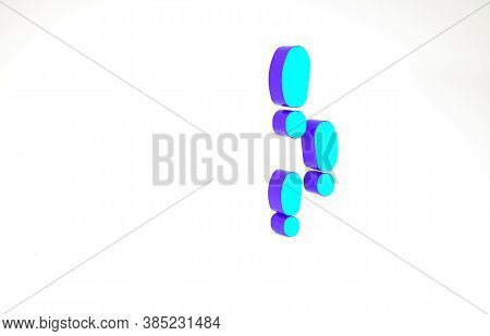 Turquoise Footsteps Icon Isolated On White Background. Detective Is Investigating. To Follow In The
