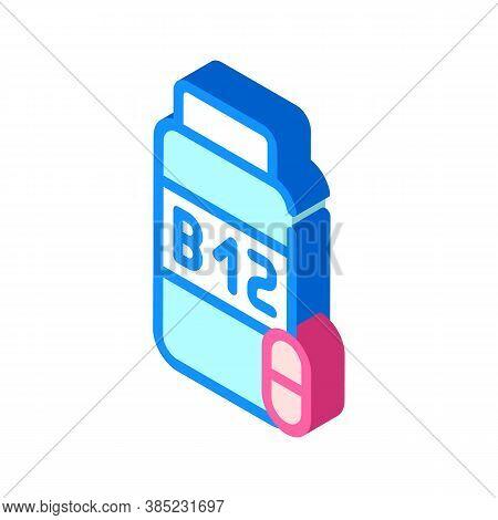 Vitamins B12 Isometric Icon Vector Symbol Illustration
