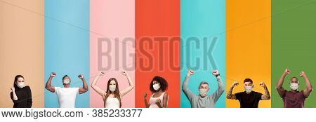 Young Attractive People Look Celebrating On Multicolored Backgrounds. Young Emotional Surprised Peop