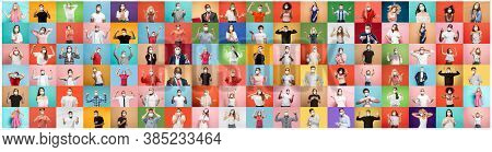 The Collage Of Surprised People In Face Masks On Multicolored Backgrounds. Happy Men And Women. Huma