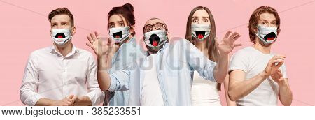 Group Of Frightened People, Women And Men Wearing Protective Face Mask On Pink Coral Background. Mul