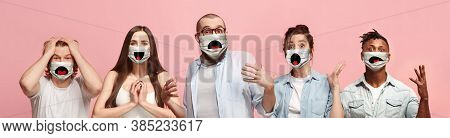 Group Of Asdtonished, Happy People, Women And Men Wearing Protective Face Mask On Pink Coral Backgro