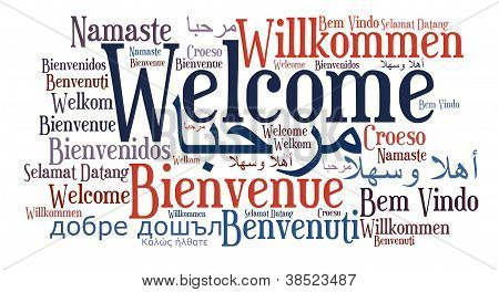 Welcome phrase in different language