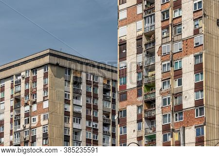Sarajevo, Bosnia and Herzegovina - August 29, 2019: Residential buildings in Sarajevo with bullet holes and marks of the war in Sarajevo, BiH