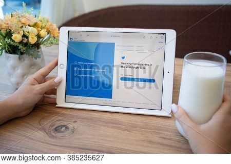 Alanya, Turkey - September 10, 2020: Woman Hand Holding Ipad 7 Gold On The Table With Social Network