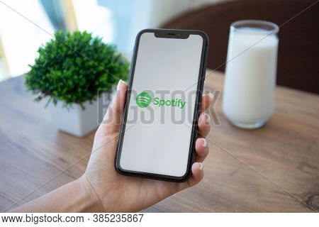 Alanya, Turkey - May 1, 2020: Woman Holding Iphone 11 With Music Service Spotify On The Screen. Ipho