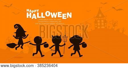 Happy Halloween Party Poster, Cute Little Group Kids Silhouette Dressed In Halloween Fancy Dress To