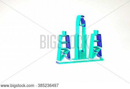 Turquoise Rocket Launch From The Spaceport Icon Isolated On White Background. Launch Rocket In Space