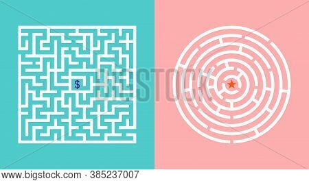 Labyrinth Game. Maze With Way. Puzzle With Entrance, Road And Exit. Square, Round Difficult Riddles.