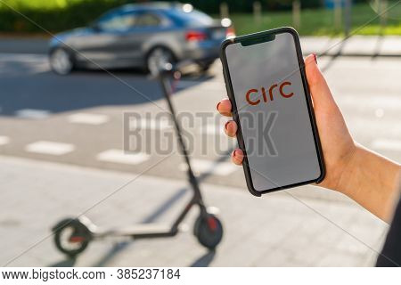 Berlin, Germany August 2019: Woman Hand Holding Iphone Xs With Logo Of Circ App Displayed On A Smart