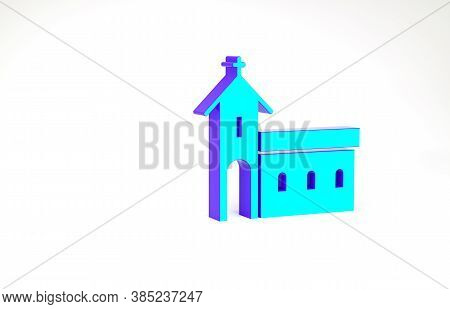 Turquoise Church Building Icon Isolated On White Background. Christian Church. Religion Of Church. M