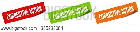 Corrective Action Sticker. Corrective Action Square Isolated Sign. Label