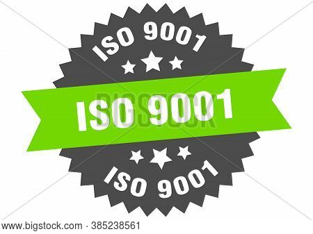 Iso 9001 Round Isolated Ribbon Label. Iso 9001 Sign