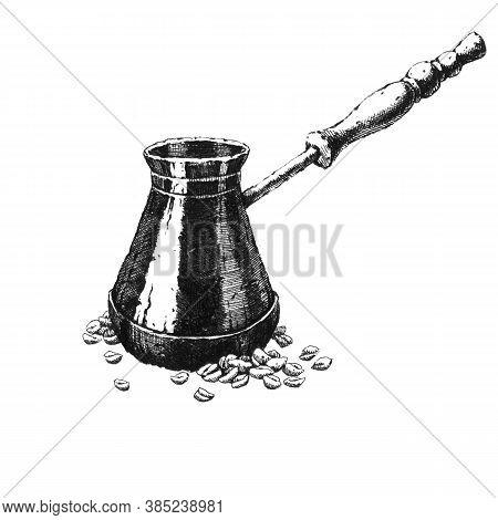 Cezva. Hand-drawn Black And White Illustration. Jpeg Only
