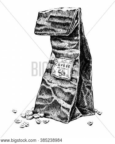 Paper Bag With Coffee Beans. Hand-drawn Black And White Illustration. Jpeg Only