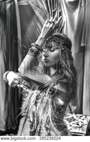Beautiful Young Gypsy Style Woman Portrait Black And White
