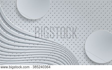 Gray Embossed Background With Wavy Pattern. Vector Eps10