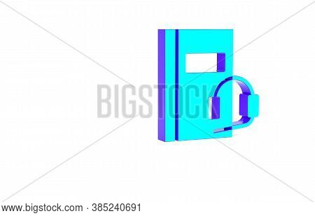 Turquoise Audio Book Icon Isolated On White Background. Book With Headphones. Audio Guide Sign. Onli