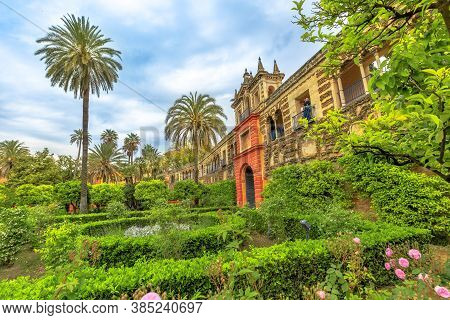 Seville, Andalusia, Spain - April 19, 2016: Gardens Of Royal Alcazars Of Seville, One Of Great Compl