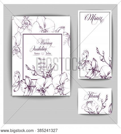 Vector Wedding Invitation Card Set With Orchid Flowers. Save The Date And Wedding Invitation Botany