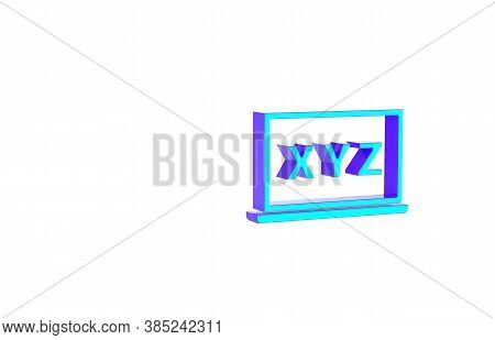 Turquoise Xyz Coordinate System On Chalkboard Icon Isolated On White Background. Xyz Axis For Graph