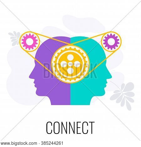 Connect People Icon. Mechanism And Gears In The Head. Metaphor Of Contact, Interaction And Teamwork.