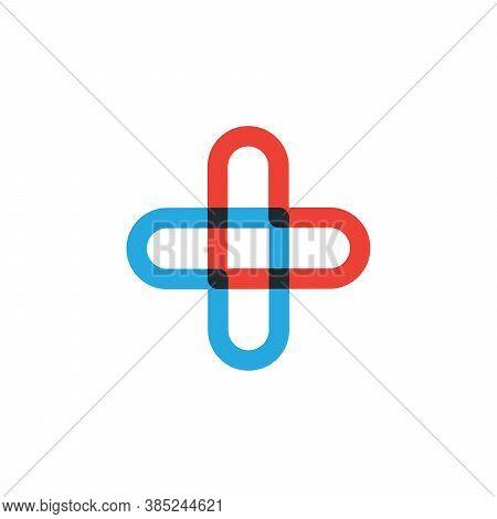 Red And Blue Cross Element Help Icons Business Logo, Medical Cross Logo Design. Stock Vector Illustr