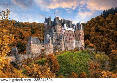 Amazing Panoramic View Of Burg Eltz Castle In Autumn., Rhineland-palatinate, Germany